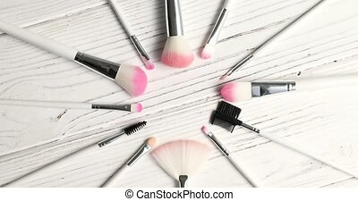 Brushes for makeup in circle - From above view of makeup...