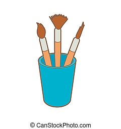 Brushes for painting in the holder icon