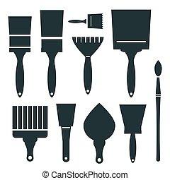 Brushes Icons Set - Vector Brush Illustration Isolated on White Background