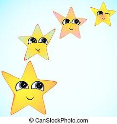 brushes., jaune, bouche, étoiles, sourire, yeux, faces