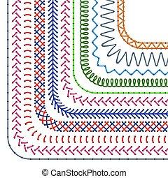 brushes., jogo, stitched, padrão, divisores, cosendo, seamless, vetorial, costura, fronteiras