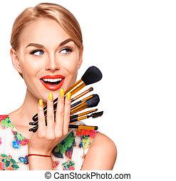 brushes., kobieta, zwracający się, piękno, makijaż, święto