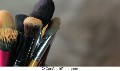 Brushes make-up artist, circle rotation,full hd video -...