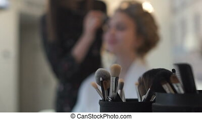 Brushes make-up close-up on the table