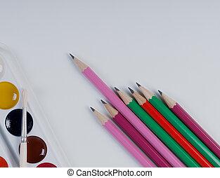 brushes., set, kleurrijke, verven, concept., school, back
