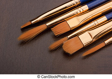 Brushes - Set of brushes to paint, synthetic pile.