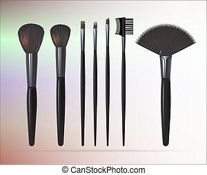 brushes., set, truccare, illustrazione, realistico, vettore