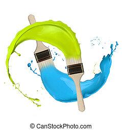 brushes., színezett, fest, fröcskölő, elszigetelt, háttér, white out