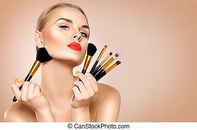 brushes., vrouw, aan het dienen, beauty, makeup, vakantie