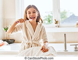 brushing, девушка, teeth