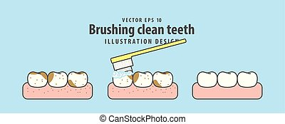 Brushing clean teeth illustration vector on blue background. Dental concept.