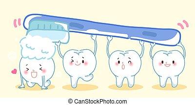 brushing cute cartoon teeth