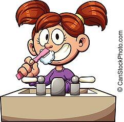 Brushing teeth - Cartoon girl brushing her teeth. Vector...