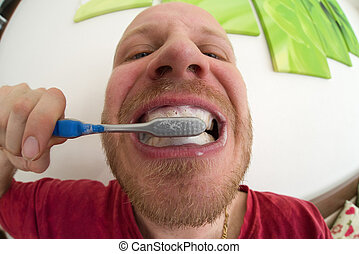 Brushing teeth. Dental hygiene - Brushing teeth - close up...