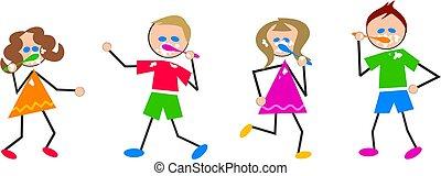 brushing teeth kids - kids brushing their teeth