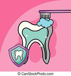 brushing tooth dental care symbol