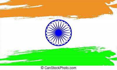 Brushstroke india flag, art video illustration.