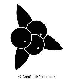 brusinka, s, list, ikona, jednoduchý, móda
