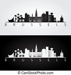Brussel skyline and landmarks silhouette, black and white...