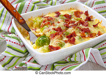 Baked brussel sprout casserole with a bacon