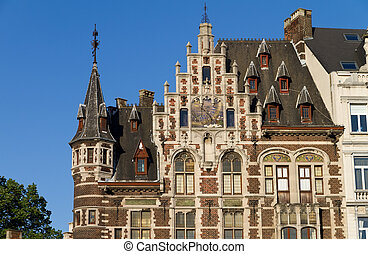 Brussels, Belgium. - detailed view of top of typical houses ...