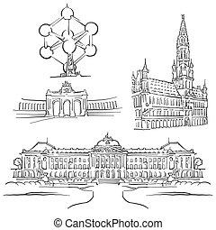 Brussels Belgium Famous Buildings, Monochrome Outlined Travel Landmarks, Scalable Vector Illustration