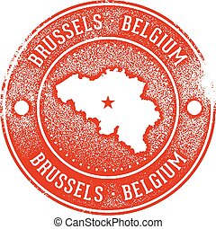 Brussels Belgium Rubber Stamp