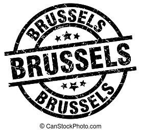 Brussels black round grunge stamp
