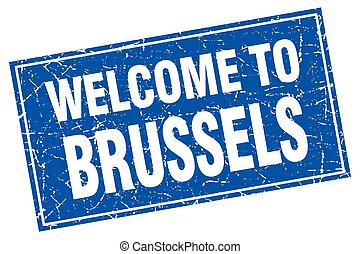 Brussels blue square grunge welcome to stamp