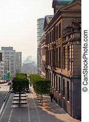 Brussels city center street on sunset , Belgium