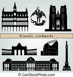 Brussels landmarks and monuments isolated on blue background...
