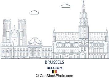 Brussels Linear City Skyline, Belgium - Brussels City...