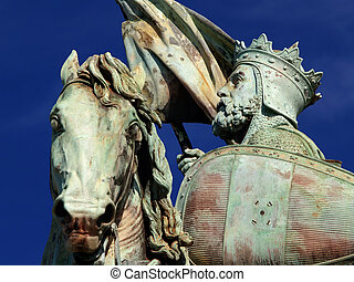 Brussels medieval crusader statue. - Detail of the statue of...