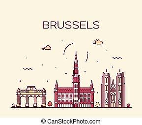 Brussels skyline Belgium vector linear style