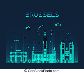 Brussels skyline Belgium vector linear style city