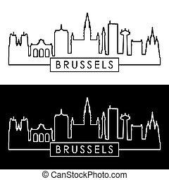 Brussels skyline. Linear style. Editable vector file.