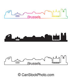 Brussels skyline linear style with rainbow