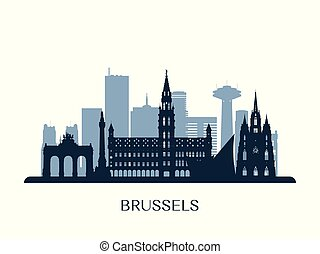 Brussels skyline, monochrome silhouette. Vector...