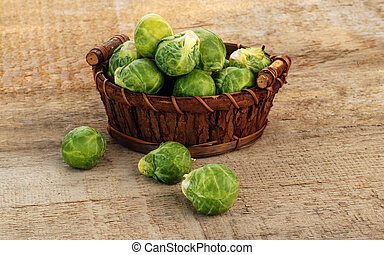 Brussels sprout - Basket of fresh green brussels sprouts