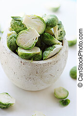 brussels sprouts  in vase