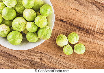 Brussels sprouts on a table