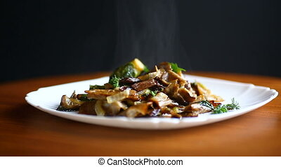 Brussels sprouts roasted with mushrooms and onions