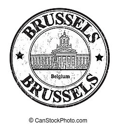 Brussels stamp - Grunge rubber stamp with the word Brussels,...