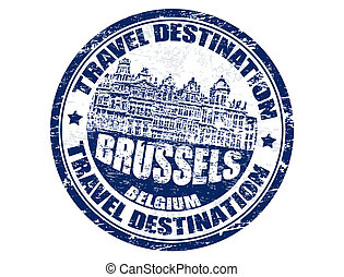 Brussels stamp - Grunge rubber stamp with the text travel...