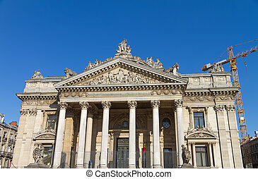 Brussels Stock Exchange in Belgium - Wide angle view of...