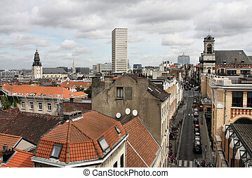 Brussels, Belgium. Aerial view cityscape. Streets and...