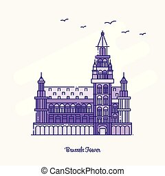 BRUSSELS TOWER Landmark Purple Dotted Line skyline vector illustration