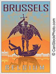 Brussels vintage poster in orange and blue textured...
