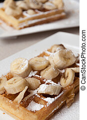 Brussels waffle with banana and sugar