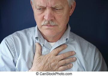 brust, empfinden schmerz, mann, älter